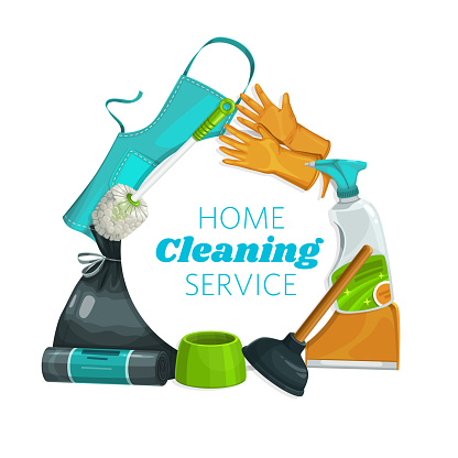 House cleaning tools equipment, clean service