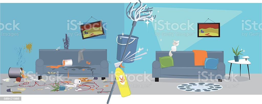 House cleaning vector art illustration
