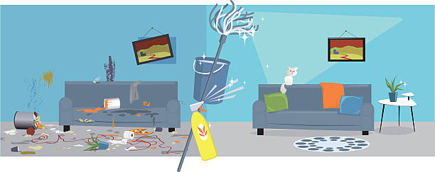House cleaning Living room before and after cleaning, EPS 8 vector illustration, no transparencies unhygienic stock illustrations