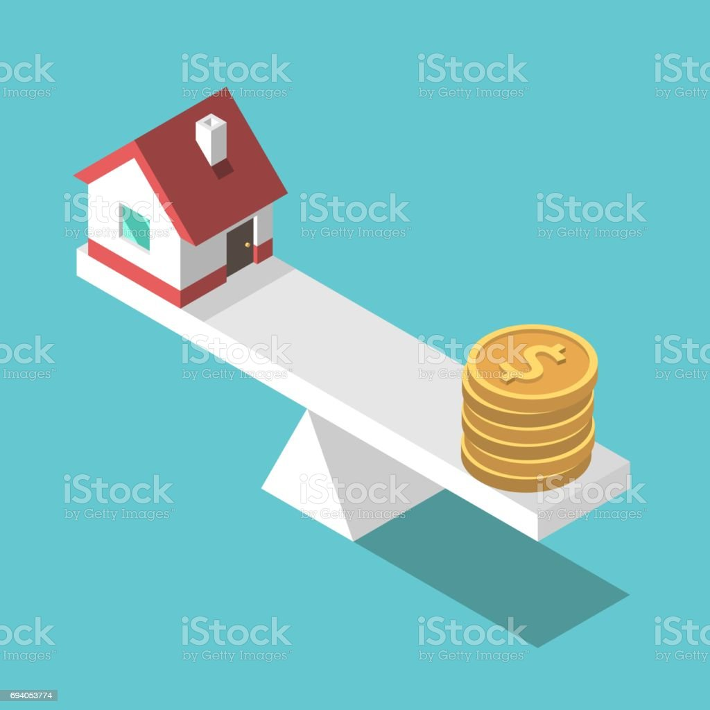 House, coins, weight scales