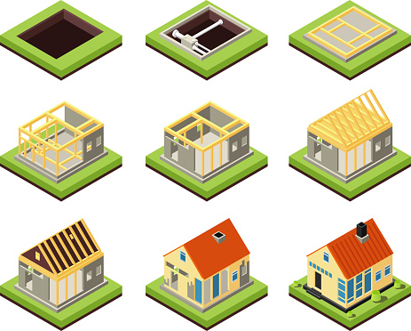 House construction. Building constructing phases. Rural home creation stage. Isometric vector icons