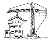 Hand-drawn vector drawing of a House Construction Site And a Crane. Black-and-White sketch on a transparent background (.eps-file). Included files are EPS (v10) and Hi-Res JPG.
