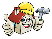 A cartoon house character mascot wearing construction site hard hat, holding a hammer giving thumbs up