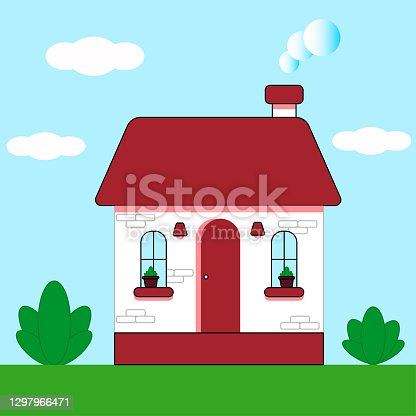 istock House cottage on a green lawn with bushes, outdoors during the day against the blue sky. Vector illustration in a flat style. 1297966471