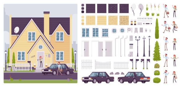 ilustrações, clipart, desenhos animados e ícones de kit de criação de casa com arquitectura clássica suburbana - landscape creation kit