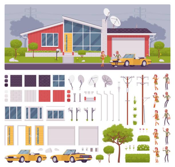 ilustrações de stock, clip art, desenhos animados e ícones de house creation set with modern glass suburban architecture - house garage