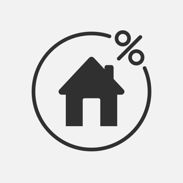 ilustraciones, imágenes clip art, dibujos animados e iconos de stock de icono de crédito casa aislado sobre fondo blanco. ilustración de vector. - hipotecas y préstamos