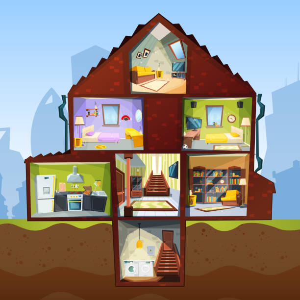 house cross section. room indoor bedroom basement apartment interior vector cartoon style pictures - basement stock illustrations