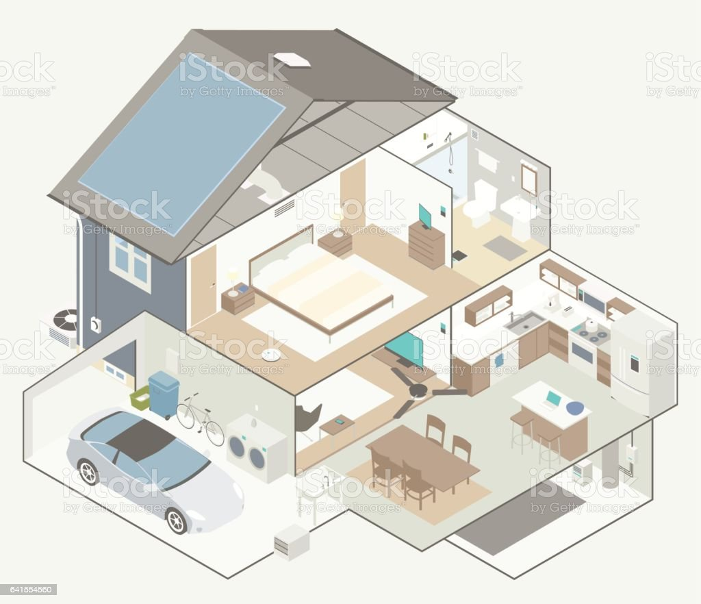 House Cutaway Diagram vector art illustration