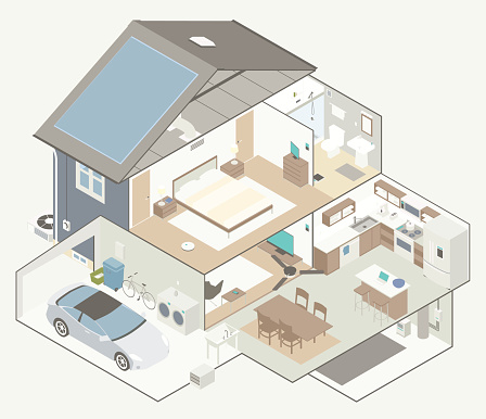 House Cutaway Diagram Stock Illustration - Download Image Now