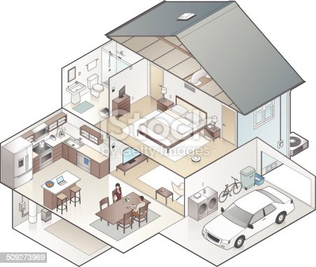 Detailed cutaway illustration of a modern house in isometric view.