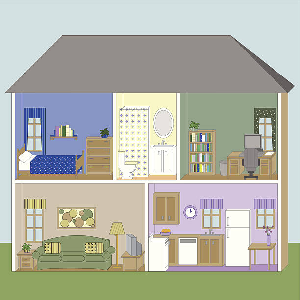 House cutaway Vector illustration of a house containing a kitchen, living room, bathroom, bedroom, and office. Furniture is completely drawn and can be rearranged. Download includes .eps, hi-res .jpg, and .ai CS3. dollhouse stock illustrations