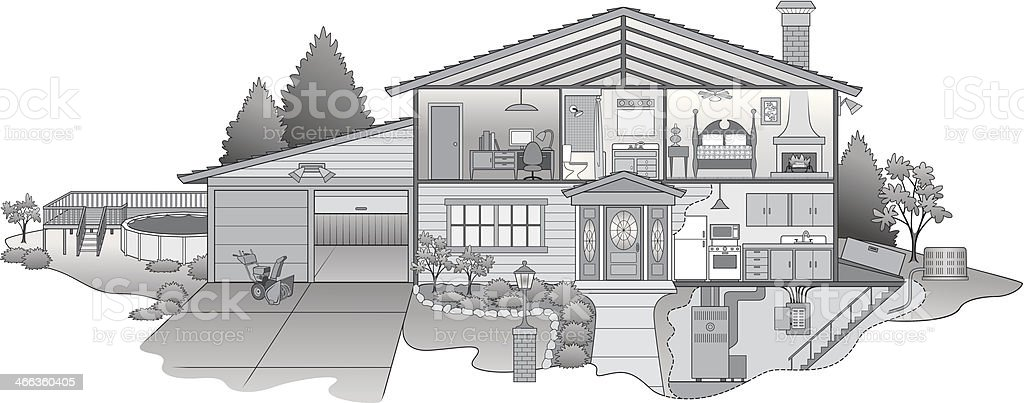 House Cutaway vector art illustration