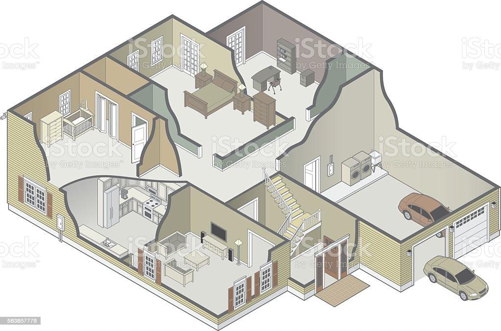 House Cutaway vector art illustration