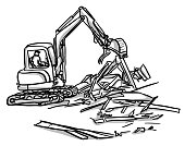 istock House Demolition Small Backhoe 1269536780