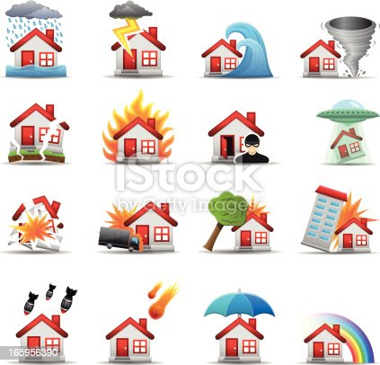 House Disaster icons. Each element is set on a different layer and is very easy for you to use and modify this elements.