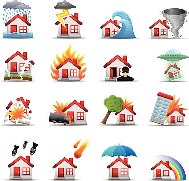 bildbanksillustrationer, clip art samt tecknat material och ikoner med house disaster - color series - house after fire