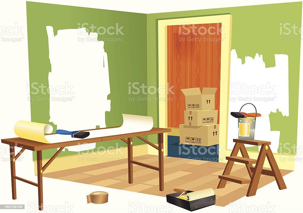 House DIY renovation project vector art illustration