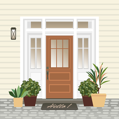 House Door Front With Doorstep And Mat Steps Window Lamp ...
