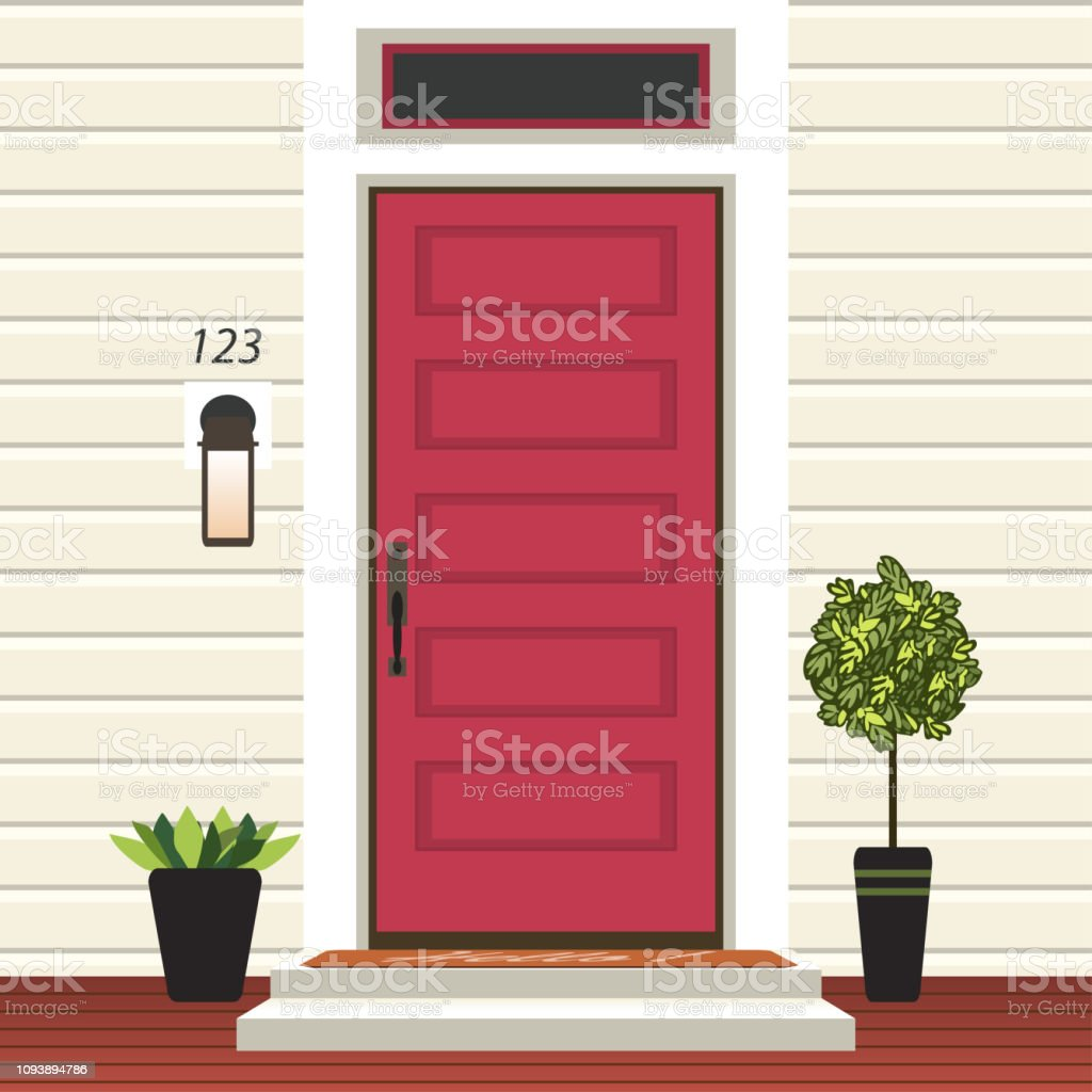 House Door Front With Doorstep And Mat Steps Window Lamp Flowers In Pot Building Entry Facade Exterior Entrance Design Illustration Vector In Flat Style Stock Illustration Download Image Now Istock