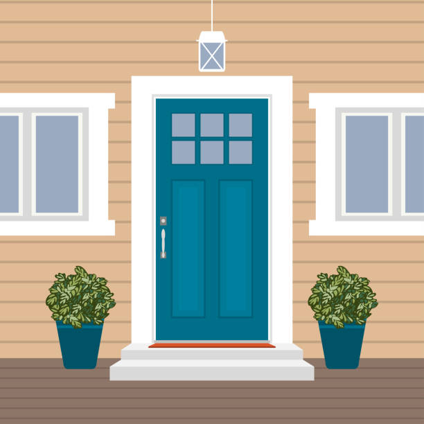 House door front with doorstep and mat, steps, window, lamp, flowers, building entry facade, exterior entrance design illustration vector in flat style House door front with doorstep and mat, steps, window, lamp, flowers, building entry facade, exterior entrance design illustration vector in flat style porch stock illustrations