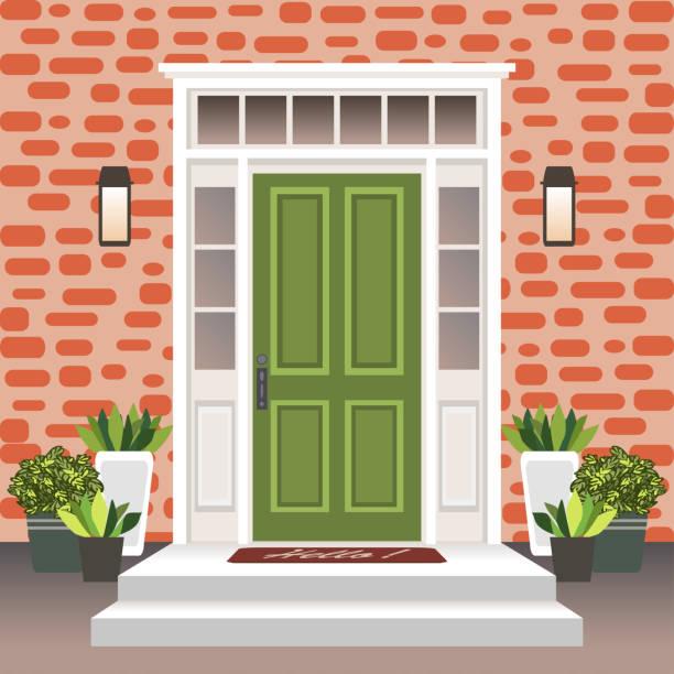 家ドア正面玄関口とステップ、ランプ、エントリ ファサード、フラット スタイルのレンガ壁デザイン イラストと外観の入口を構築、ポットに花 - 玄関点のイラスト素材/クリップアート素材/マンガ素材/アイコン素材