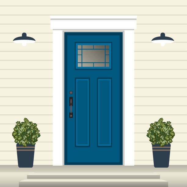 House door front with doorstep and steps, window, lamp, flowers in pot, building entry facade, exterior entrance design illustration vector in flat style House door front with doorstep and steps, window, lamp, flowers in pot, building entry facade, exterior entrance design illustration vector in flat style porch stock illustrations