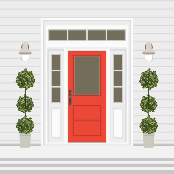 House door front with doorstep and steps, window, lamps, flowers, entry facade building, exterior entrance design illustration vector in flat style House door front with doorstep and steps, window, lamps, flowers, entry facade building, exterior entrance design illustration vector in flat style porch stock illustrations