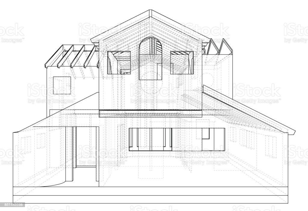 Haus In Vektor Zeichnen Die Konturen Des Hauses Erstellt Von 3d