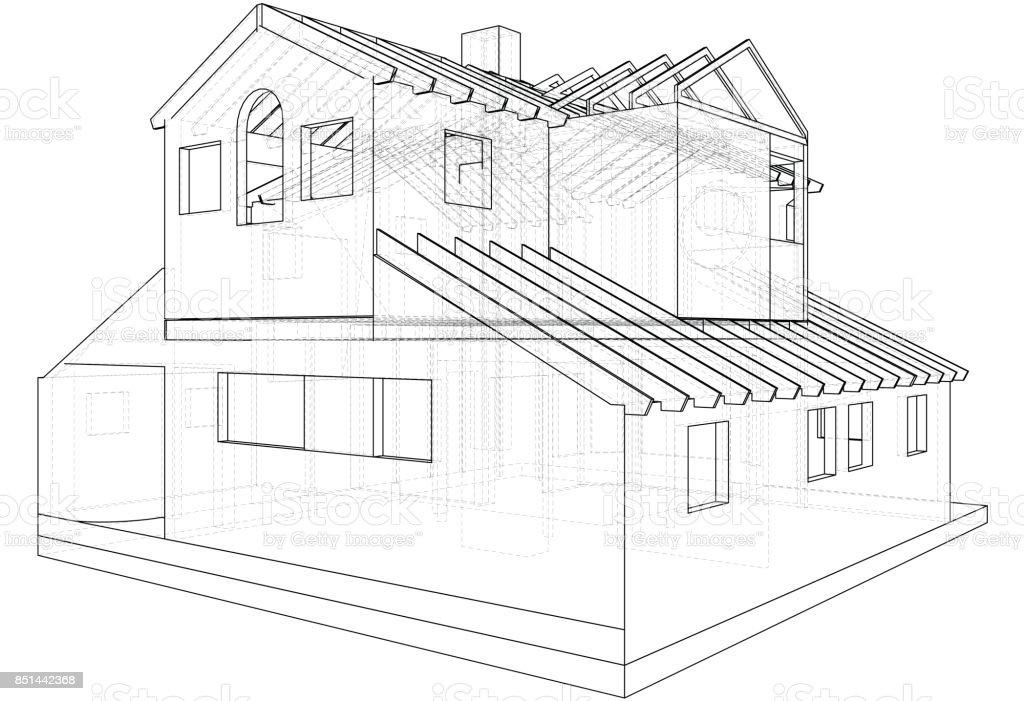 haus in vektor zeichnen die konturen des hauses erstellt von 3d vektor stock vektor art und mehr. Black Bedroom Furniture Sets. Home Design Ideas