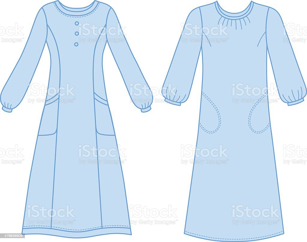 House dress, nightdress vector art illustration