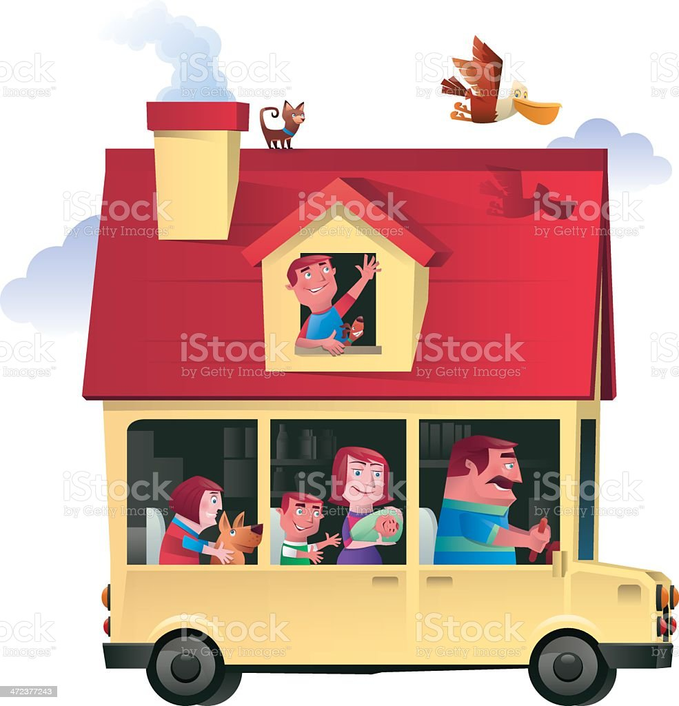 house driving royalty-free stock vector art