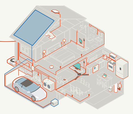 House Electrical Diagram Stock Illustration - Download Image Now