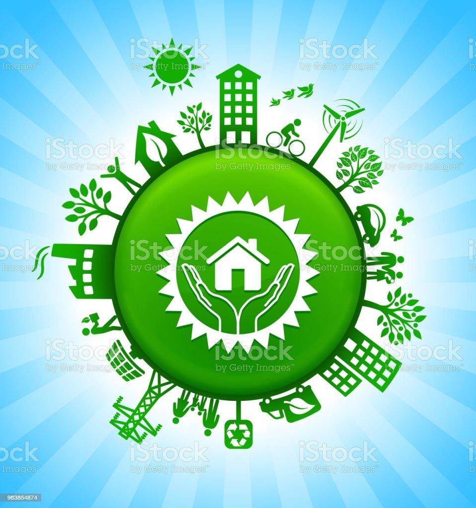 House Emblem Environment Green Button Background on Blue Sky - Royalty-free Alternative Energy stock vector