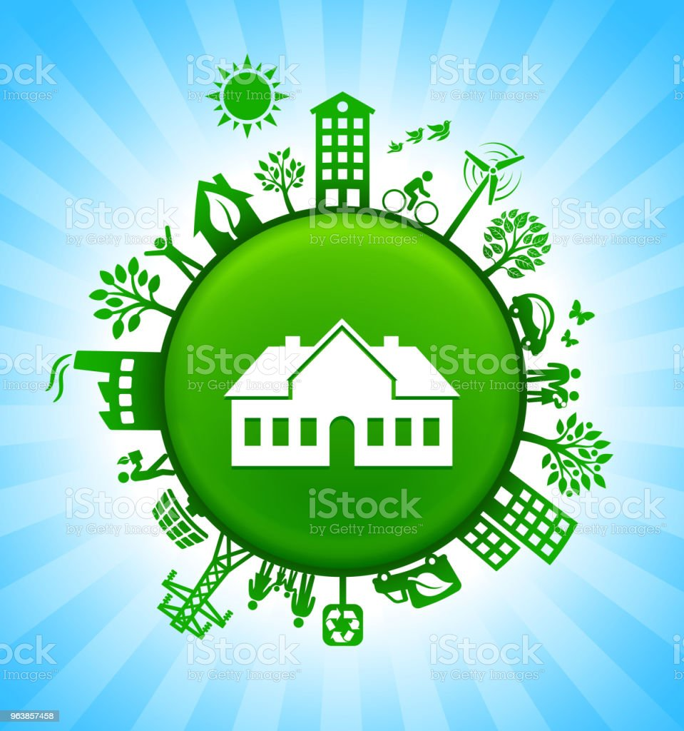 House Environment Green Button Background on Blue Sky - Royalty-free Alternative Energy stock vector