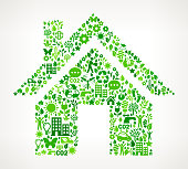 House On Green Environmental Conservation and Nature royalty free vector interface icon pattern. This royalty free vector art features nature and environment icon set pattern. The major color is green and icons include trees, leaves, energy, light bulb, preservation, solar power and sun. Icon download includes vector art and jpg file.
