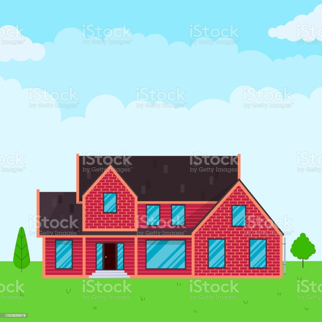House Exterior Flat Style Design Vector Illustration With Roof Windows And Shadows Classic Townhouse Apartments Fasade Green Grass And Trees Cloudy Sky Stock Illustration Download Image Now Istock