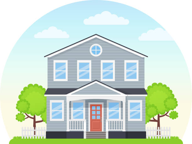 House exterior front view. Vector illustration. Flat design. House exterior, front. Vector. Home building facade. Landscape of residential neighborhood, townhouse. Modern cottage with roof, porch, tree, yard. Suburb architecture. Cartoon flat illustration. porch stock illustrations