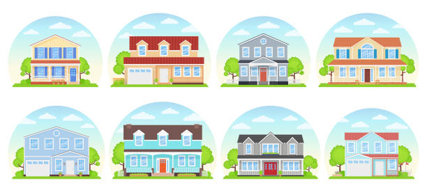 House exterior front view. Vector illustration. Flat design. House exterior. Vector. Home building front view. Facade of modern cottage. Landscape of residential neighborhood. Set townhouses. Suburb architecture. Cartoon flat illustration. porch stock illustrations