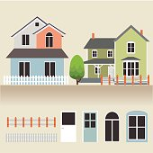 house exterior set icons vector illustration