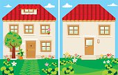 A cute house with lawn. I plan to use this house in several other illustration themes.