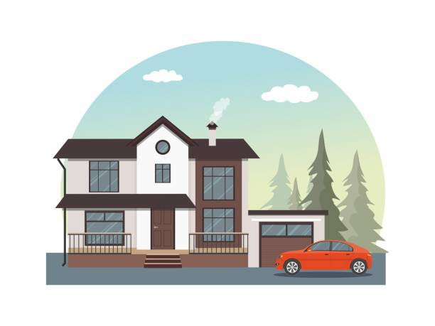 House facade icon. Modern cottage with red car isolated on white background. House facade. Modern cottage with red car. Vector illustration. driveway stock illustrations