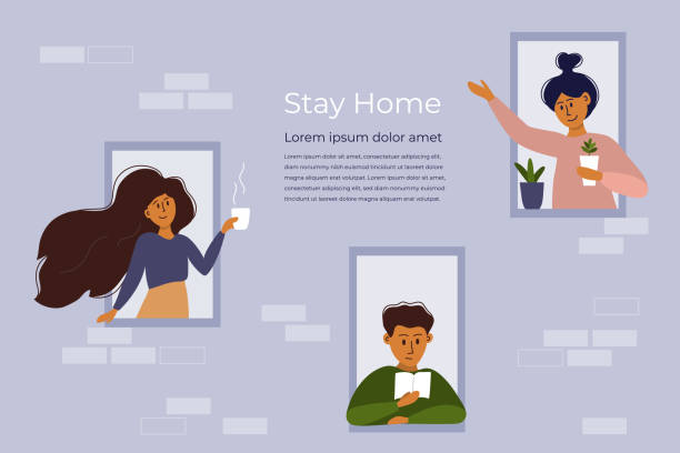 House facade, neighborhood and stay home concept – artystyczna grafika wektorowa