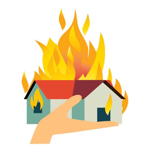 bildbanksillustrationer, clip art samt tecknat material och ikoner med house fire - house after fire