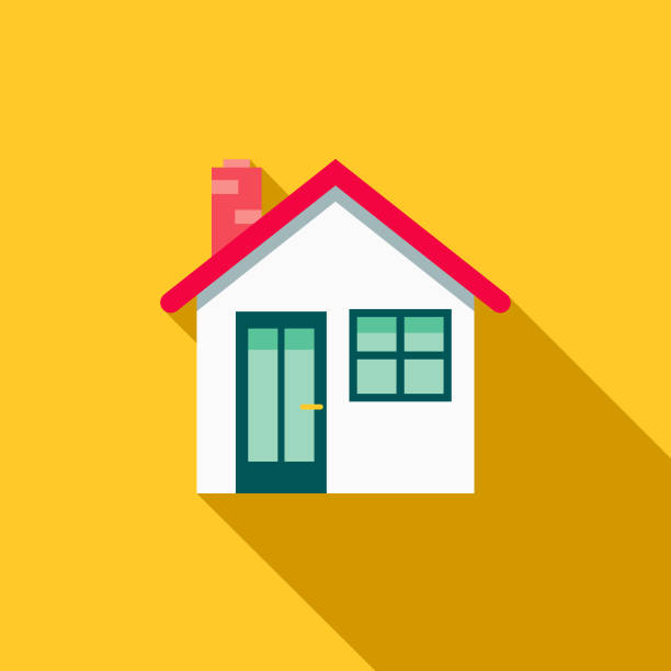 House Flat Design Home Improvement Icon A flat design styled home improvement and renovation icon with a long side shadow. Color swatches are global so it's easy to edit and change the colors. house stock illustrations