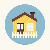 House flat icon and fence