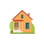 Flat colorful house front icon. Cottage with  porch and orange walls. Modern design structures vector illustration