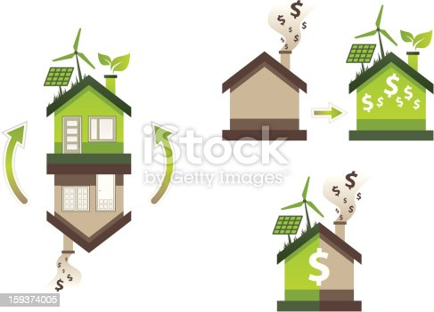 icons of house improvement turning from inefficient to green and eco