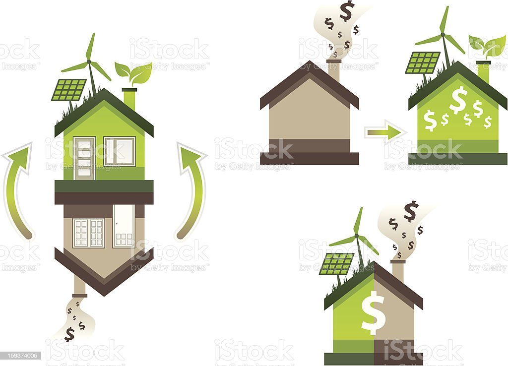 house flipping from brown to eco green vector art illustration