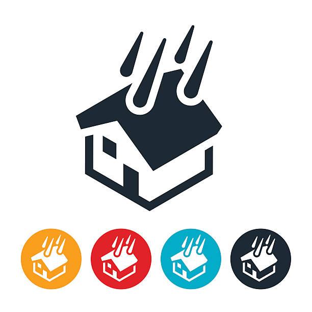 illustrazioni stock, clip art, cartoni animati e icone di tendenza di house flood icon - grandine